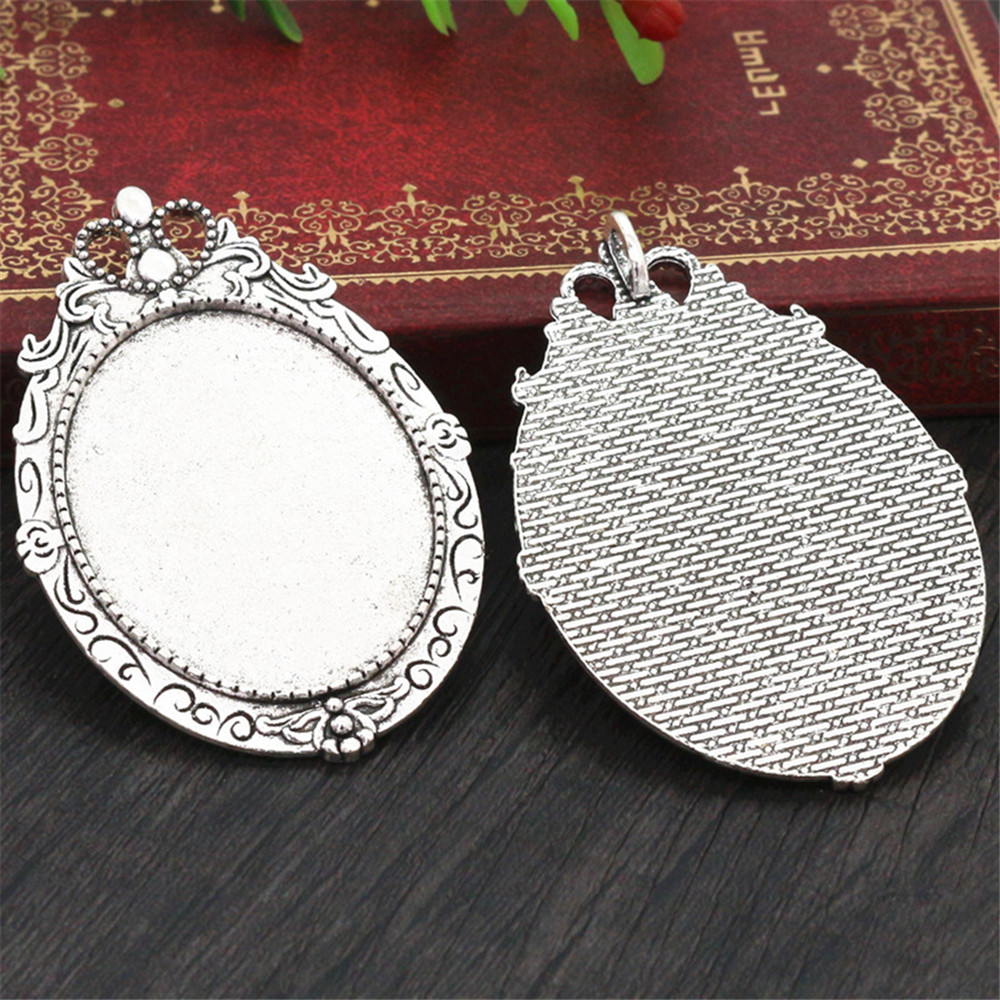 New Fashion 5pcs 30x40mm Inner Size Antique Silver Plated Simple Style Cabochon Base Setting Charms Pendant (B3-25)