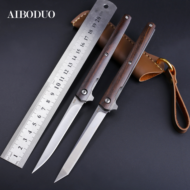 AIBODUO flipper fold knife M390 blade drop point silver 58HRC handle knives outdoor camping hunting knife slicing fruit knives(China)