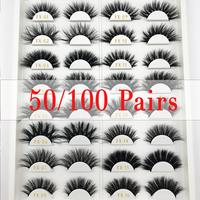FOXYFOX Wholesale order 50/100 pairs/lot free logo Custom box soft lashes long eyelash extension real mink eyelash for makeup