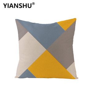Image 1 - YIANSHU 45*45cm Geometric Cushion Covers Yellow And Gray Rhombus Pillow Case For Home Chair Sofa Decoration Square Pillowcases