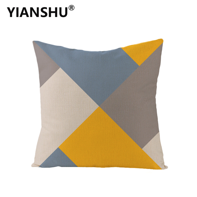YIANSHU 45*45cm Geometric Cushion Covers Yellow And Gray Rhombus Pillow Case For Home Chair Sofa Decoration Square Pillowcases