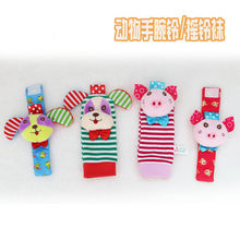 Wrist Rattle And Foot Socks Cartoon Animals Baby Soft Rattles Kids Socks Baby Toys 0-12 Months Toys for Newborns Musical Rattles(China)