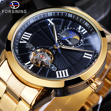 Forsining Brand Mens Mechanical Watch Tourbillon Royal Moonphase Clock Quality Golden Steel Wristwatches Masculino Relogio Saat