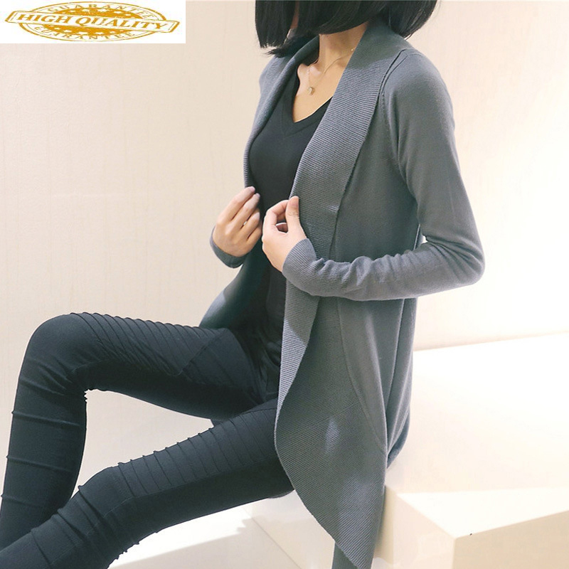 Long Knitted Cardigan Women Clothes 2020 Korean Sweater Cardigans Women Tops Black Kardigan Chompas Para Mujer KJ2380
