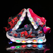 LED ילדים סניקרס ספיידרמן זוהר נעלי בני סיבים אופטי ילדים נעלי Chaussure Enfant ספורט LED קינדר סניקרס 25 33