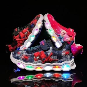 Image 1 - LED Kids Sneakers Spiderman Glowing Shoes Boys Fiber Optic Kids Shoes Chaussure Enfant Sport  LED Kinder Sneakers 25 33