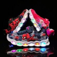 LED เด็กรองเท้าผ้าใบ Spiderman เรืองแสงรองเท้าไฟเบอร์ออปติกเด็กรองเท้า Chaussure Enfant กีฬา LED Kinder รองเท้าผ้าใบ 25 33