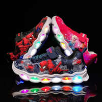 LED Kinder Turnschuhe Spiderman Glowing Schuhe Jungen Fiber Optic Kinder Schuhe Chaussure Enfant Sport LED Kinder Turnschuhe 25-33