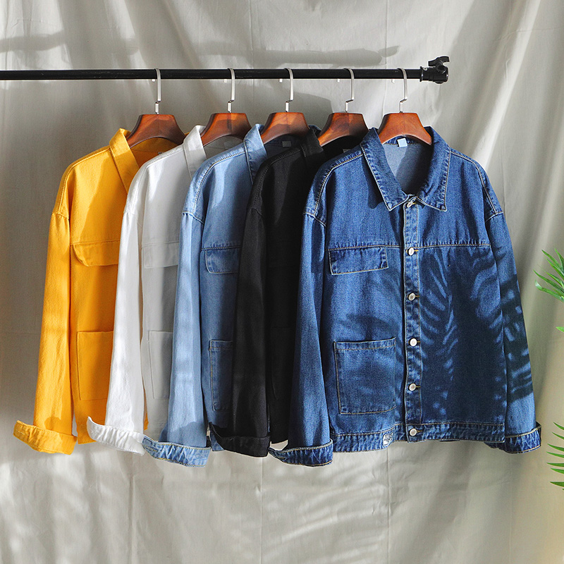 Casual Black Jeans Jacket Men White Blue Yellow Solid Color Autumn Spring