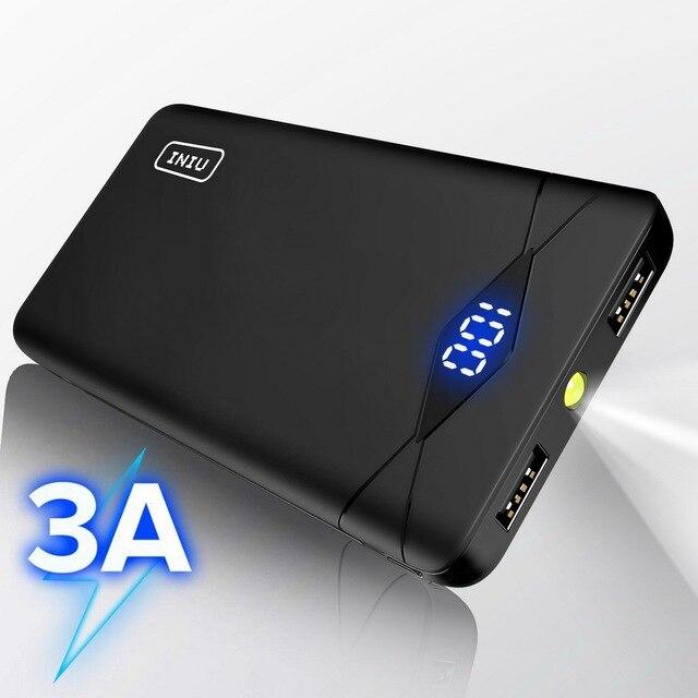 INIU 3A 10000mAh خزان طاقة مزود بإضاءة ليد مزدوج USB محمول شاحن باوربانك بطارية الهاتف الخارجي حزمة آيفون شياو mi mi لسامسونج
