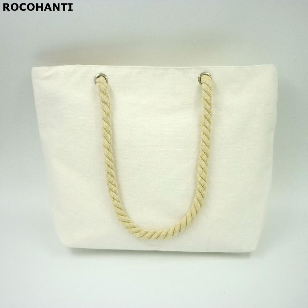 Durable Cotton Canvas Shopping Bag With Rope Handles Zipper Closure Pure White Color Medium Size 11.8x14.9x3.9 Inch