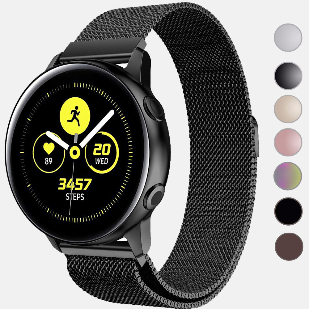 22mm 20mm Stainless Steel Galaxy Watch Active2 Band Milanese Loop Watch Strap For Samsung Gear S3 Amazift Huami GTS GTR