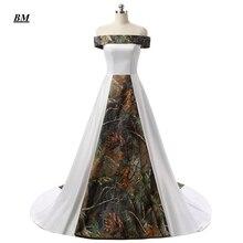 2019 Vintage New Sexy Long Camo Wedding Dresses With Strapless Satin Lace Up Plus Size Bridal Gowns Vestido De Novia BM121