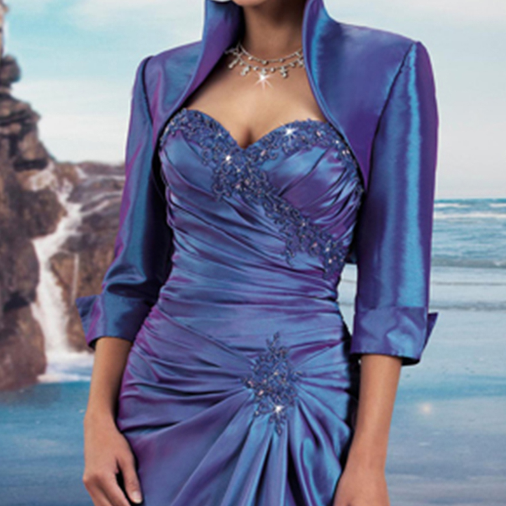 Vestido de Madrinha Mother of the Bride Dresses with Jacket Blue Beaded Long Evening Gowns Special Occasion Godmother Dress