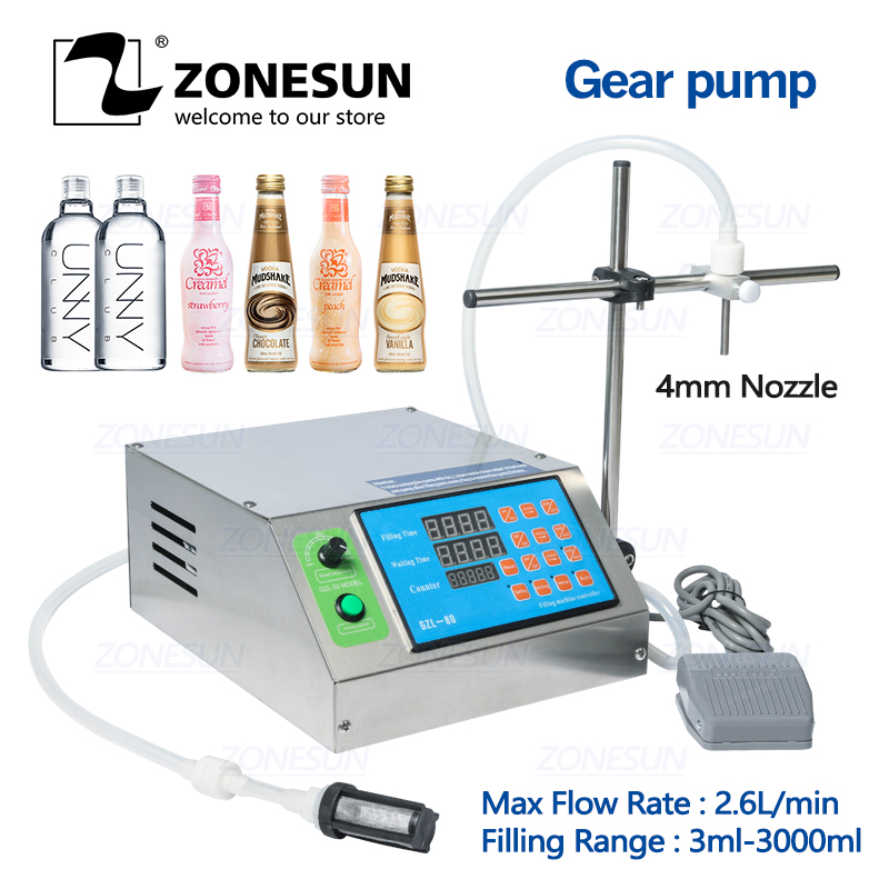 ZONESUN Gear Pump Bottle Water Filler Semi-automatic Liquid Vial Alcohol Filling Machine For Juice Beverage Oil Perfume