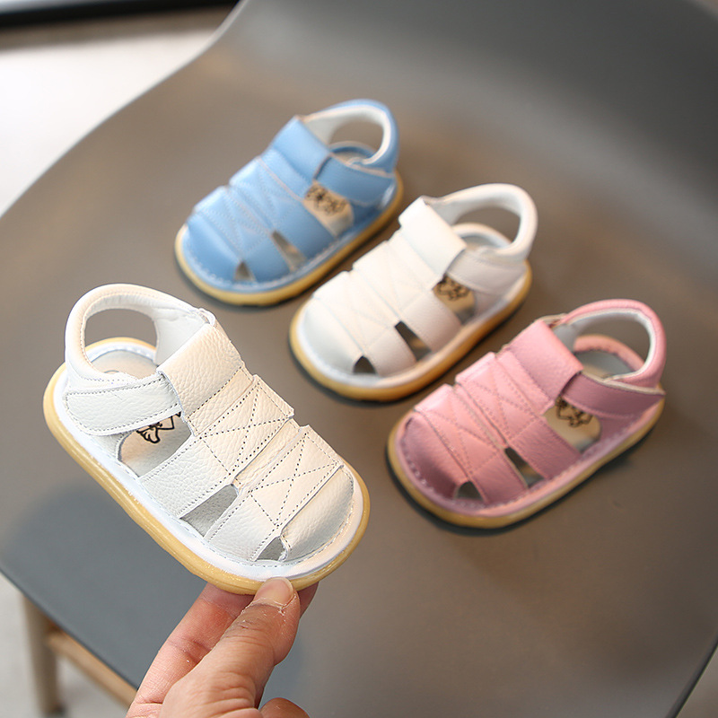 Infant Toddler Shoes 2020 Summer Baby Girls Boys Sandals Soft Bottom Genuine Leather Anti-collision Children First Walkers Shoes