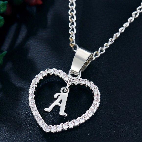 Серебряные ювелирные изделия, ожерелье с подвеской в форме сердца с инициалами имени, 26 букв, циркониевые любовные ожерелья, подарки для дев...
