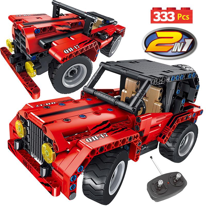RC 2,4 ГГц новая техническая серия автомобильные строительные блоки двойной режим город Вранглер гоночный автомобиль кирпичи транспортное с