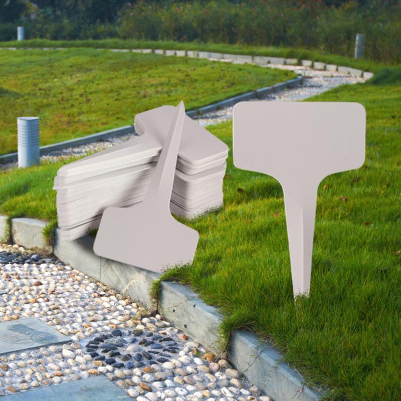 50pcs 6 X10cm Plastic Plant T-type Tags Markers Nursery Garden Labels Gray