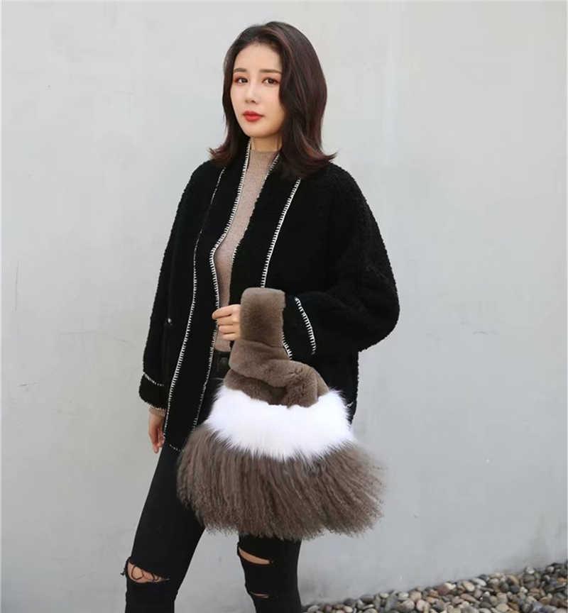 IANLAN מזדמן נשים מונגולי כבשים פרווה תיקי פלאפי פוקס פרווה Tote שקיות אמיתי רקס ארנב פרווה קניות שקיות IL00569