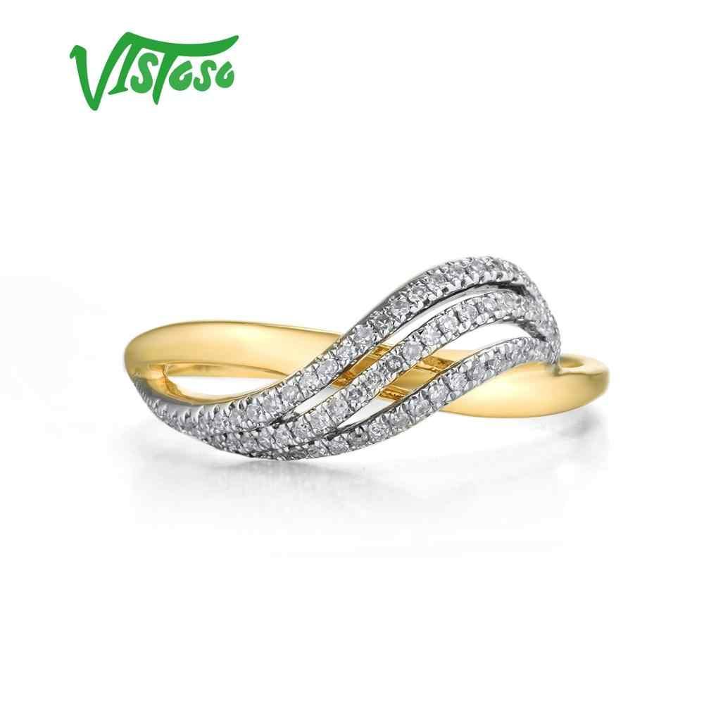 VISTOSO anillos de oro para dama genuino 14K 585 anillo de oro amarillo brillante diamante promesa Anillos De Compromiso aniversario joyería fina