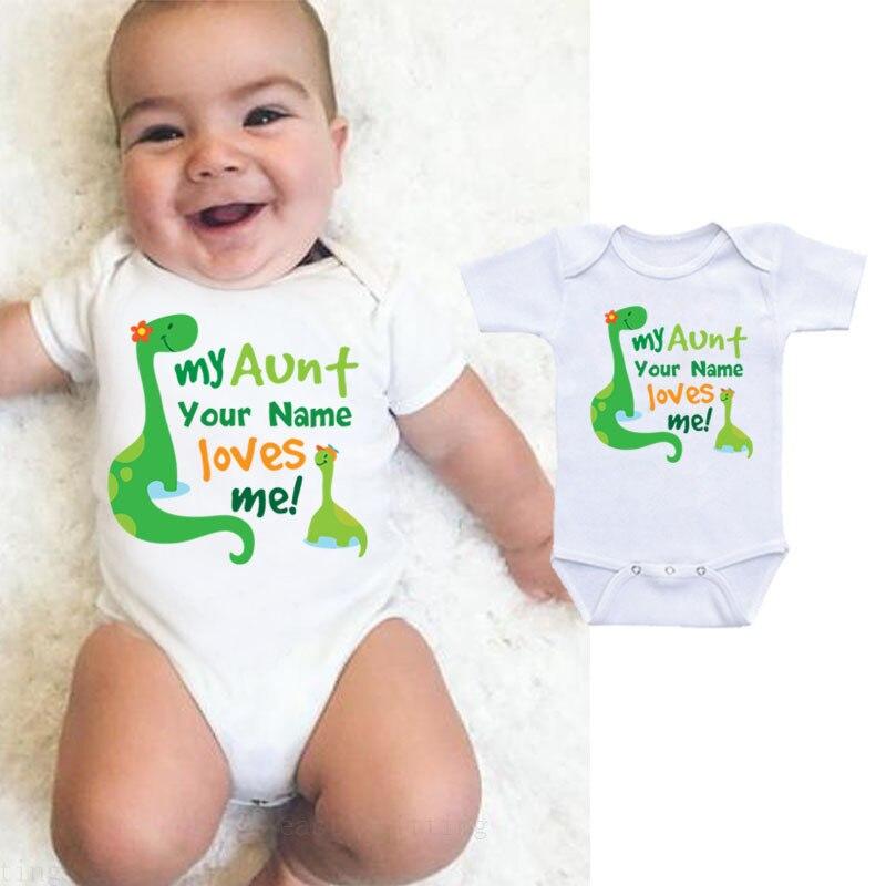 Babys My Uncle Loves Me Dinosaur Long Sleeve Romper Onesie Bodysuit Jumpsuit