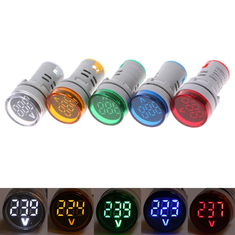22mm LED Digital Display Gauge Volt Voltage Meter Indicator Signal Lamp Voltmeter Lights Tester Combo Measuring Range 60-500V AC