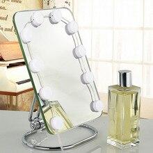 Usb порт для зарядки с регулируемой яркостью, косметическое зеркало, светодиодный светильник, лампы в голливудском стиле для макияжа, туалетный столик, набор в гардеробной