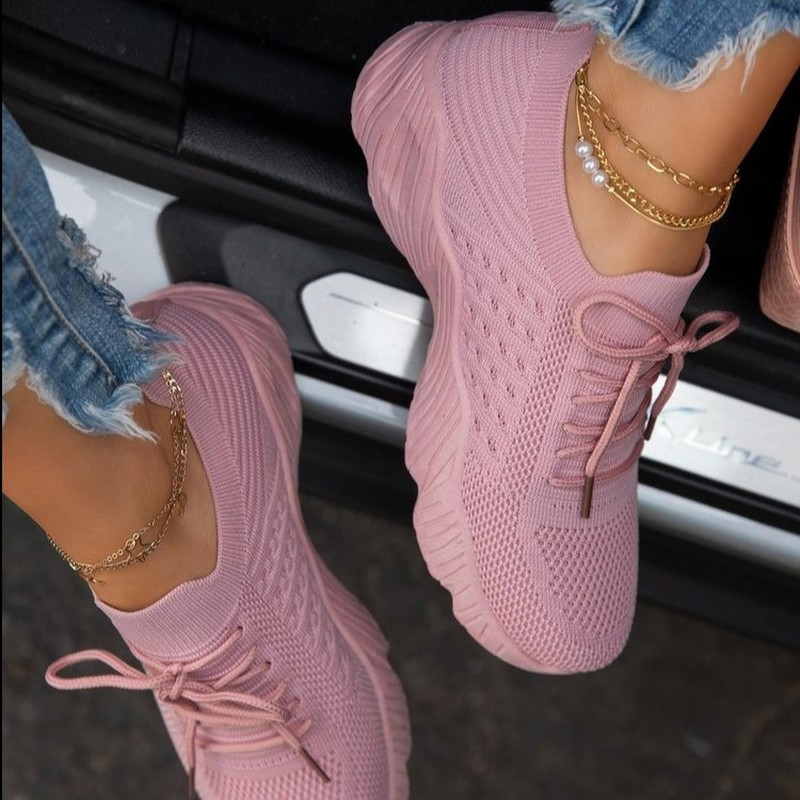 Women Sneakers Casual Shoes Comfortable Mesh Lace-Up Ladies Sport Shoes Wedges Chunky Women's Vulcanized Shoes Females Sneakers 1