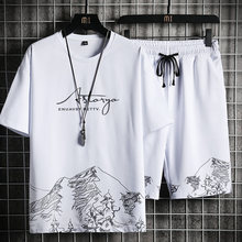 2021 nowy mężczyzna zestaw na co dzień letni dres w stylu Harajuku T-shirt + spodenki sportowe Running 2 sztuk zestawy drukowanie moda mężczyzna Sport garnitur