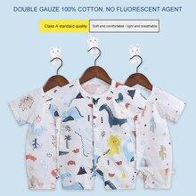 Unisex Baby Cotton Onesies Cartoon Style Short Sleeve Summer Gauze Climbing Suit Comfortable Wearing SBD201901