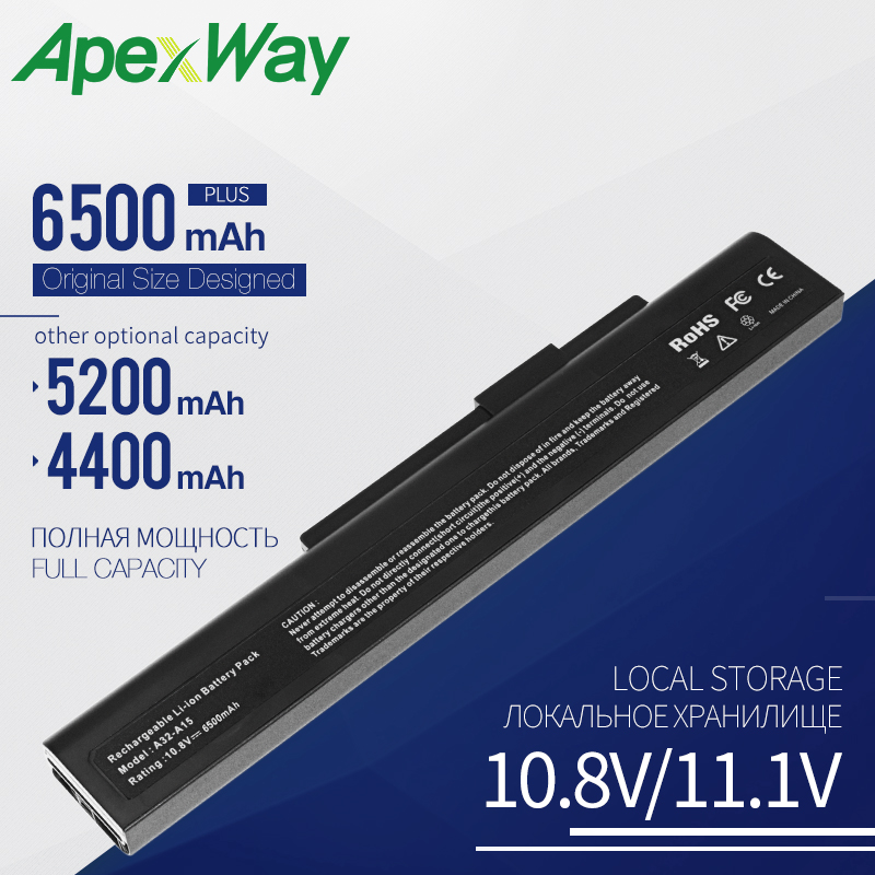 Apexway 6 Cell Laptop Battery For MSI MEDION A32-A15 A41-A15 A42-A15 A42-H36 A6400 CR640 CX640 For Akoya E6201 E7201 P6631 P7621