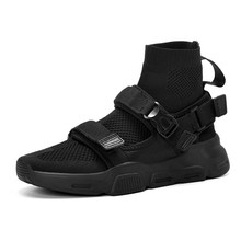 Fashion High Top Sneakers Men Knit Upper Breathable Socks 2019 New Black White Trainers Casual