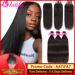 Aatifa Hair-Bundles Closure Straight Brazilian