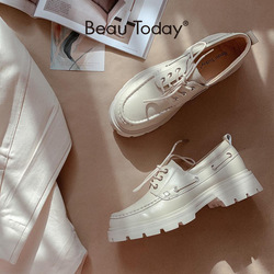 BeauToday Plattform Schuhe Frauen Echte Kuh Leder Runde Kappe Nähen Lace-Up Wohnungen Chunky Sole Damen Derby Schuhe Handmade 27739