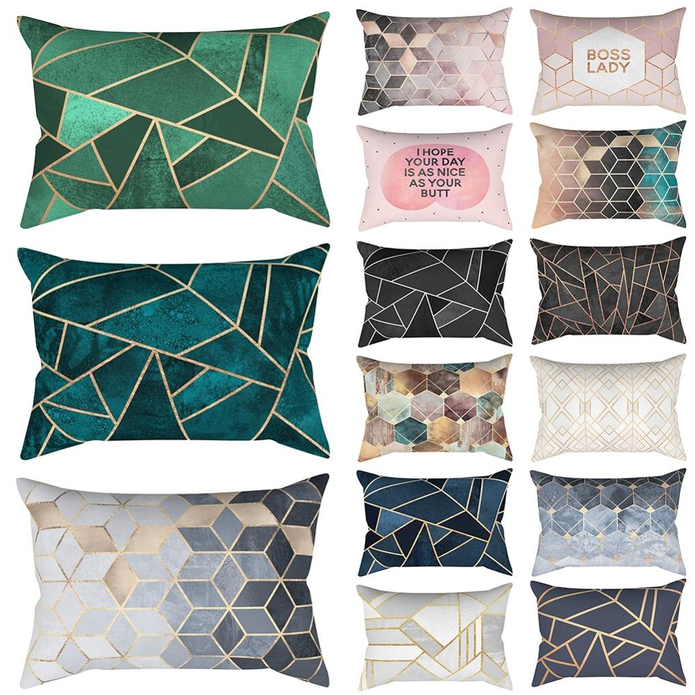 Simple Rectangle Pillow Case Geometric Short Plush Printed Cushion Cover For Home Bedroom Seat 30*50cm Home Decor