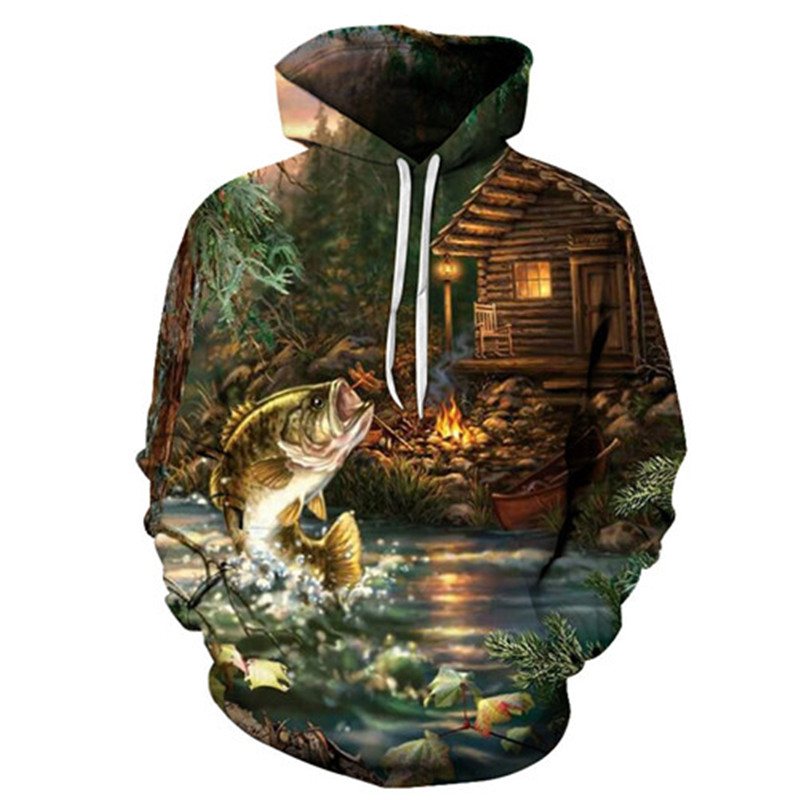 Drop ship 2019 fishing hoodies casual style Autumn fashion Digital fish O neck sea sandbeach cartoon river shark comfort yacht in Hoodies amp Sweatshirts from Men 39 s Clothing