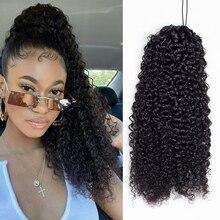 Aliballad кудрявые накладные человеческие волосы на шнурке, бразильские афро-волосы для наращивания, для черных женщин, Реми 150 г, 4 расчески