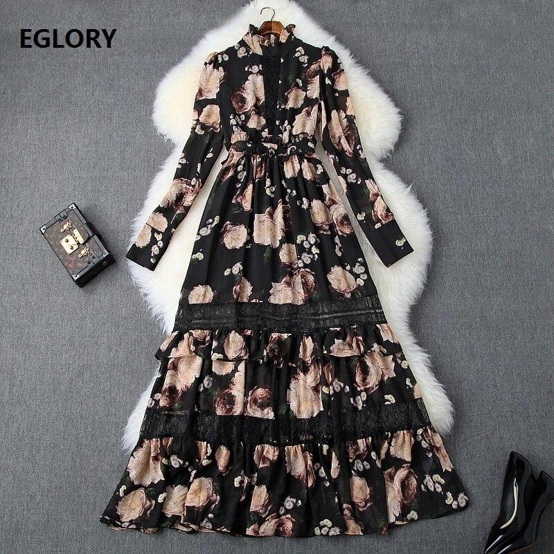 2019 automne mode longue robe de haute qualité femmes à volants col Vintage fleur imprimer dentelle Patchwork à manches longues Maxi robe