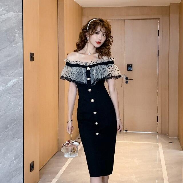COIGARSAM Ruffles Women one-piece dress korean Polka Dot Mesh Dresses Black 6907 5