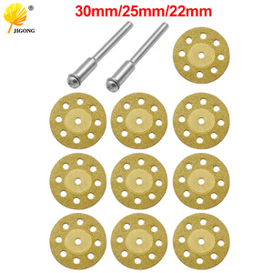 10pcs 22mm 25mm 30mm Mini Diamond Saw Blade Gold Cutting Blade + 2pcs Rod Grinding Drill Adapter Rotation
