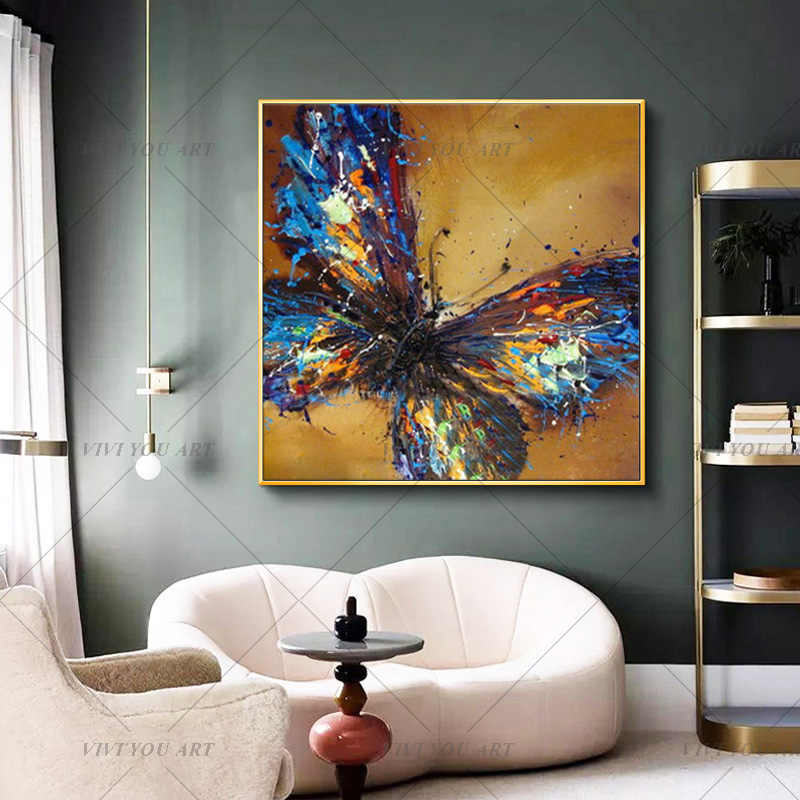 Frameless Handpainted Artwork High Quality Modern Wall Art On Canvas Animal Oil Painting Blue Butterfly Hang Pictures Room Decor