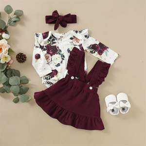 Outfit Jumpsuit Headband Romper Skirts Tops T-Shirt Floral Newborn Baby-Girl Bow Suspender