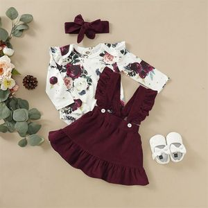 Newborn Baby Girl Clothes Set Floral Bodysuit Romper Jumpsuit Tops T Shirt Suspender Skirts Bow Headband Outfit