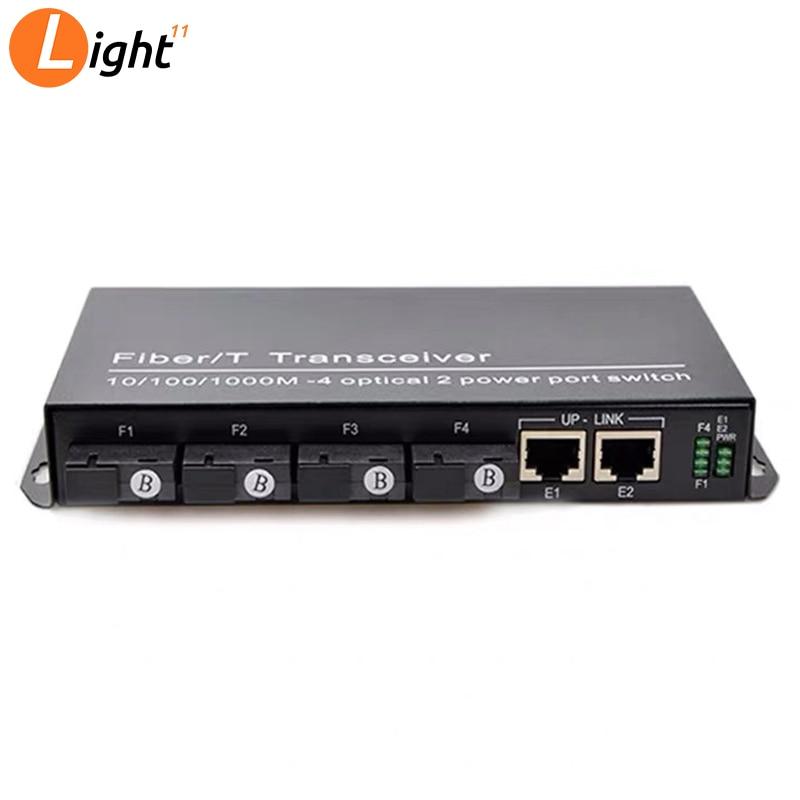 10/100M Fast Ethernet Switch Converter  Ethernet Fiber Optical Media Converter Single Mode 2*RJ45 & 4*SC Fast Fiber Switch