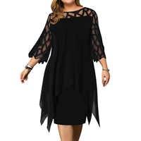 5XL Plus Größe Frauen Schwarz Kleid Elegante Büro Damen Kleider Geometrische Langarm Weibliche Kleid Herbst Beiläufige Lose Vestido D30