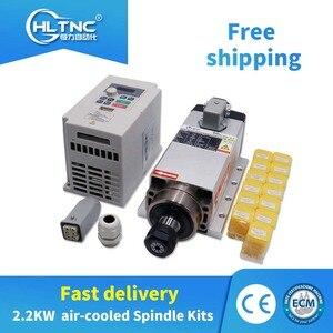 Image 1 - 1500W 1.5KW/2200W 2.2KW 300/400Hz 18000/24000Rpm Luchtkoeling Cnc Spindel Motor + Vfd + 1Set ER11/ER20 Collet Voor Cnc Freesmachine
