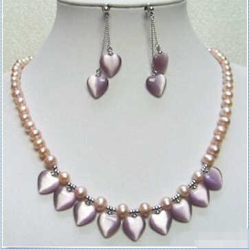 ร้อนของแท้สีชมพูมุกสีม่วงโอปอลหัวใจสีขาวชุบทองจี้สร้อยคอต่างหูชุด (A0423)