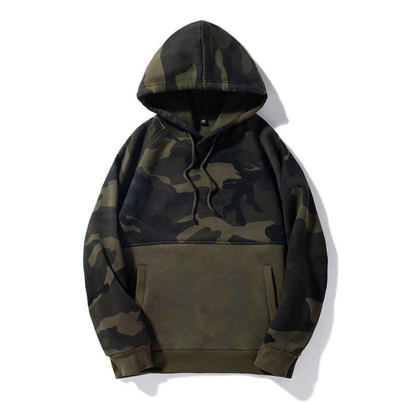 Sudadera con capucha de camuflaje para hombre 2019 marca Patchwork Hip Hop Sudadera Hombre otoño polar Sudadera con capucha caliente con capucha para hombre abrigo del ejército