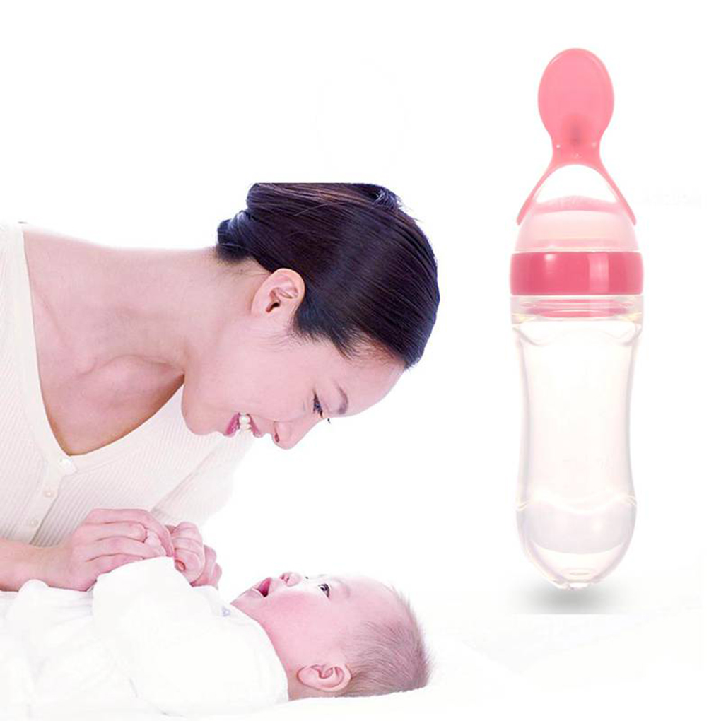 90ml /120ml Silicone Squeeze Bottles Baby Infants Rice Cereal Bottles With Spoon Newborn Toddler Feeder Feeding Bottle